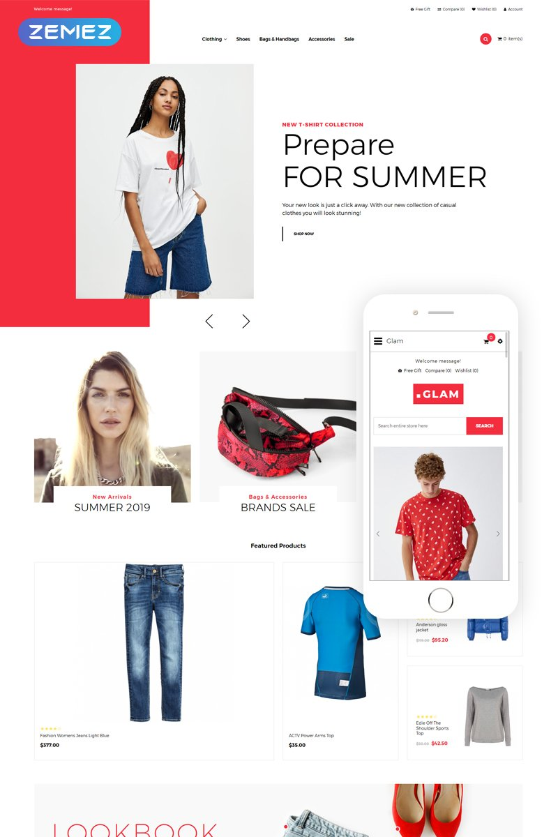 """Glam - Fashion Store Creative"" Responsive OpenCart Template №80421"