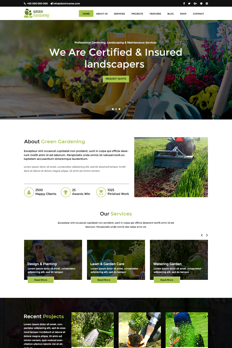 """Green Garden - Gardening"" - PSD шаблон №80409"