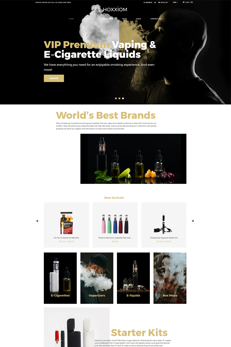 """Hoxxiom - Electronic Cigarettes Modern"" Responsive Shopify Thema №80482"