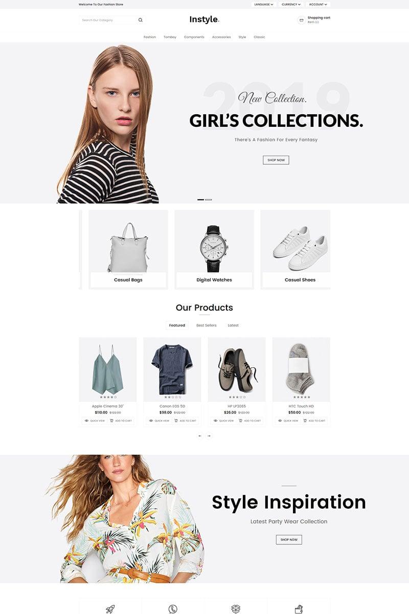 """Instyle Fashion"" - адаптивний OpenCart шаблон №80475"