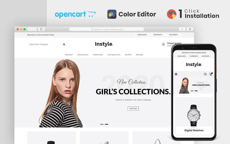 """""""Instyle Fashion Responsive"""" Responsive OpenCart Template №80475"""