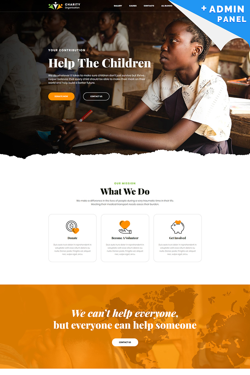"Landing Page Template namens ""Charity - Foundation"" #80474"