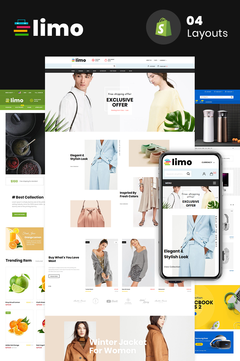 Limo - Sectioned Multipurpose Store Shopify #80416 - Ekran resmi