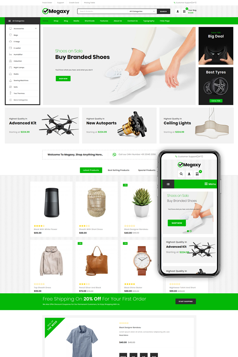 """Megaxy - Multi Store"" - адаптивний WooCommerce шаблон №80425"