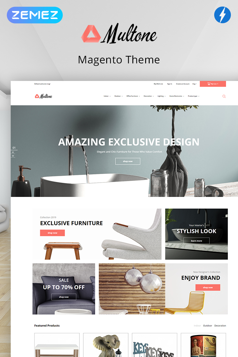 """Multone - Light eCommerce Furniture Store"" thème Magento  #80476"