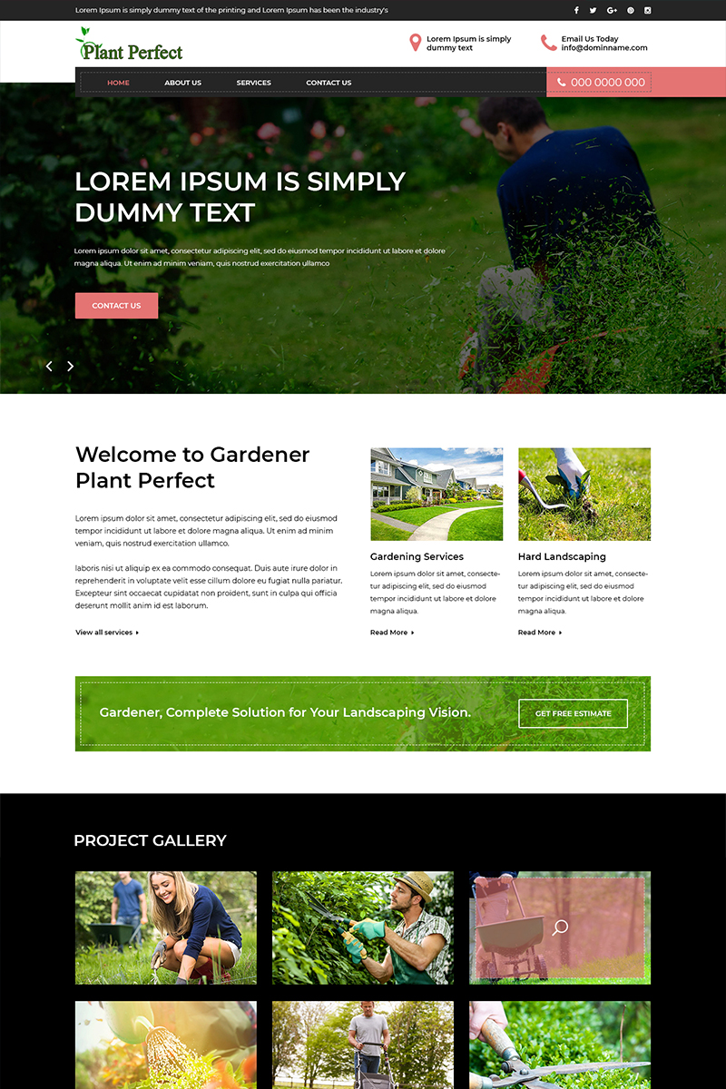 """Plant Perfect - Gardening"" - PSD шаблон №80411"