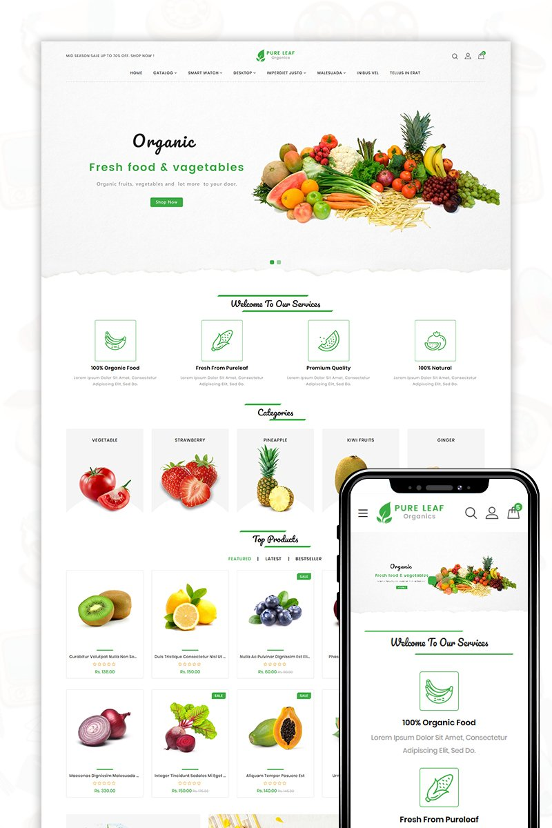 Pure Leaf - The Shopping Mall Template OpenCart №80477