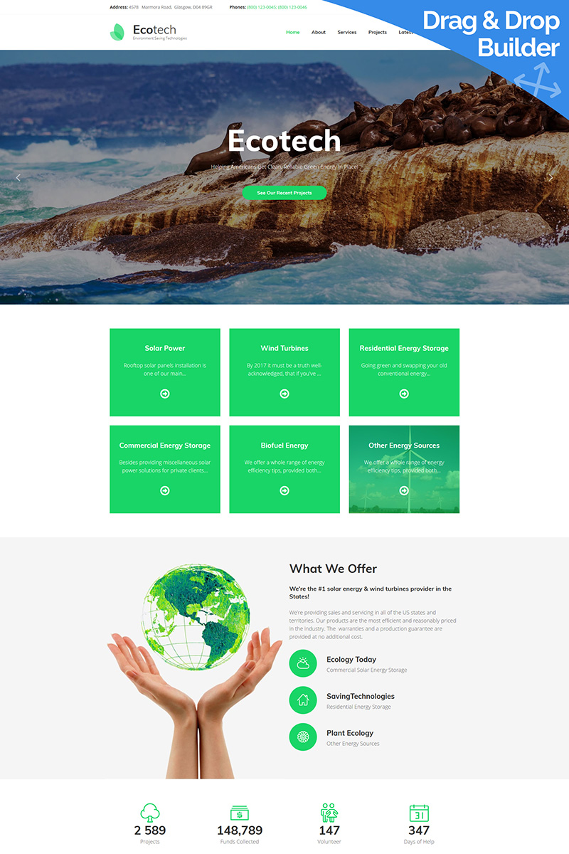 Responsive Ecotech - Environment Moto Cms 3 #80402