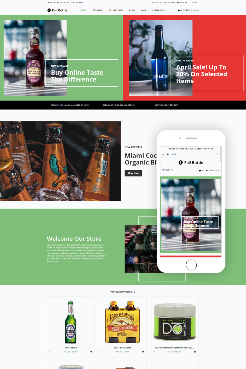 Responsive Full Bottle - Drinks Store Clean Shopify #80434