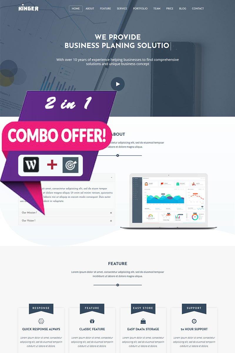 Responsive Kinger - Personal Business Portfolio Landing Wordpress #80472