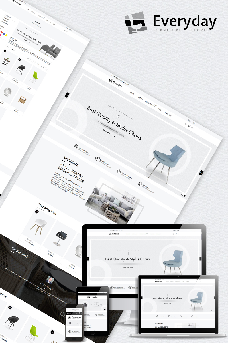 Responsivt Everyday - Furniture Multipurpose Shopify-tema #80495 - skärmbild