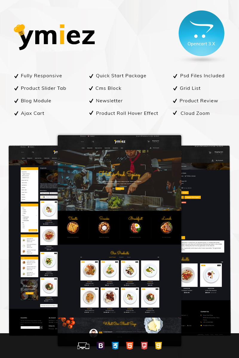 """Responzivní OpenCart šablona """"Ymiez Food Store"""" #80437"""