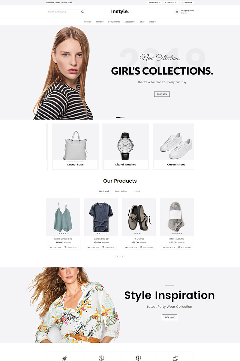 Reszponzív Instyle Fashion OpenCart sablon 80475