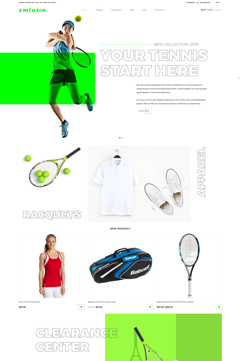 """Sminton - Tennis Store Clean"" 响应式Shopify模板 #80485"