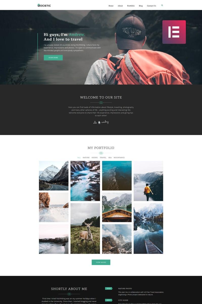 """Societic - Lifestyle Blog Multipurpose Modern Elementor"" - адаптивний WordPress шаблон №80486 - скріншот"