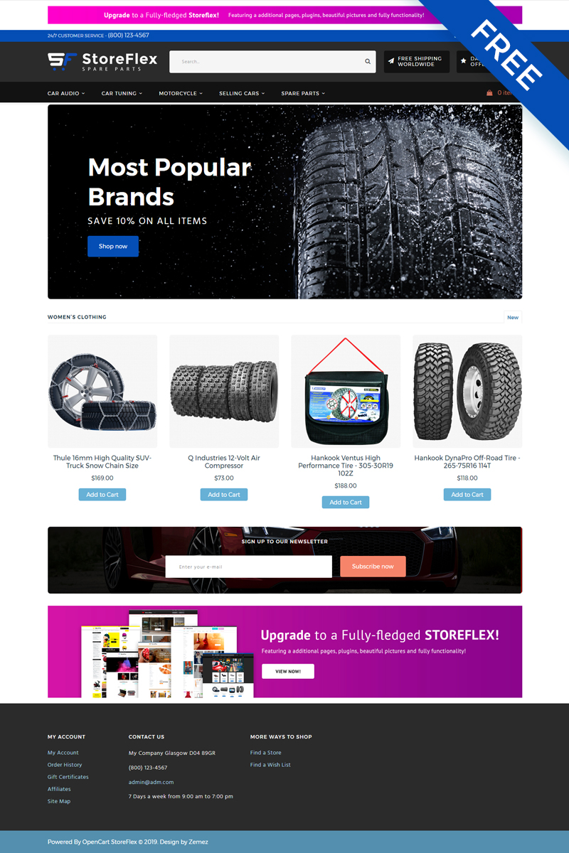 StoreFlex - Car Parts eCommerce Clean Free OpenCart Template - screenshot