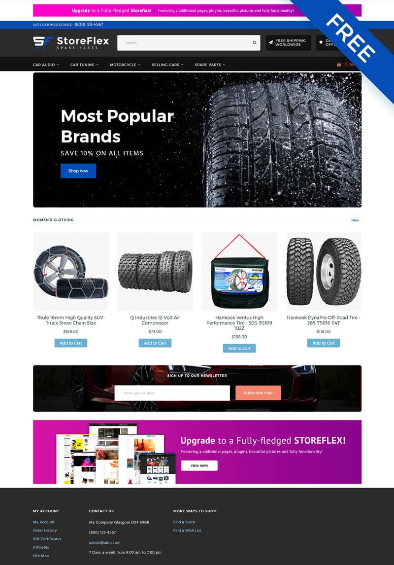storeflex car parts ecommerce clean free template. Black Bedroom Furniture Sets. Home Design Ideas