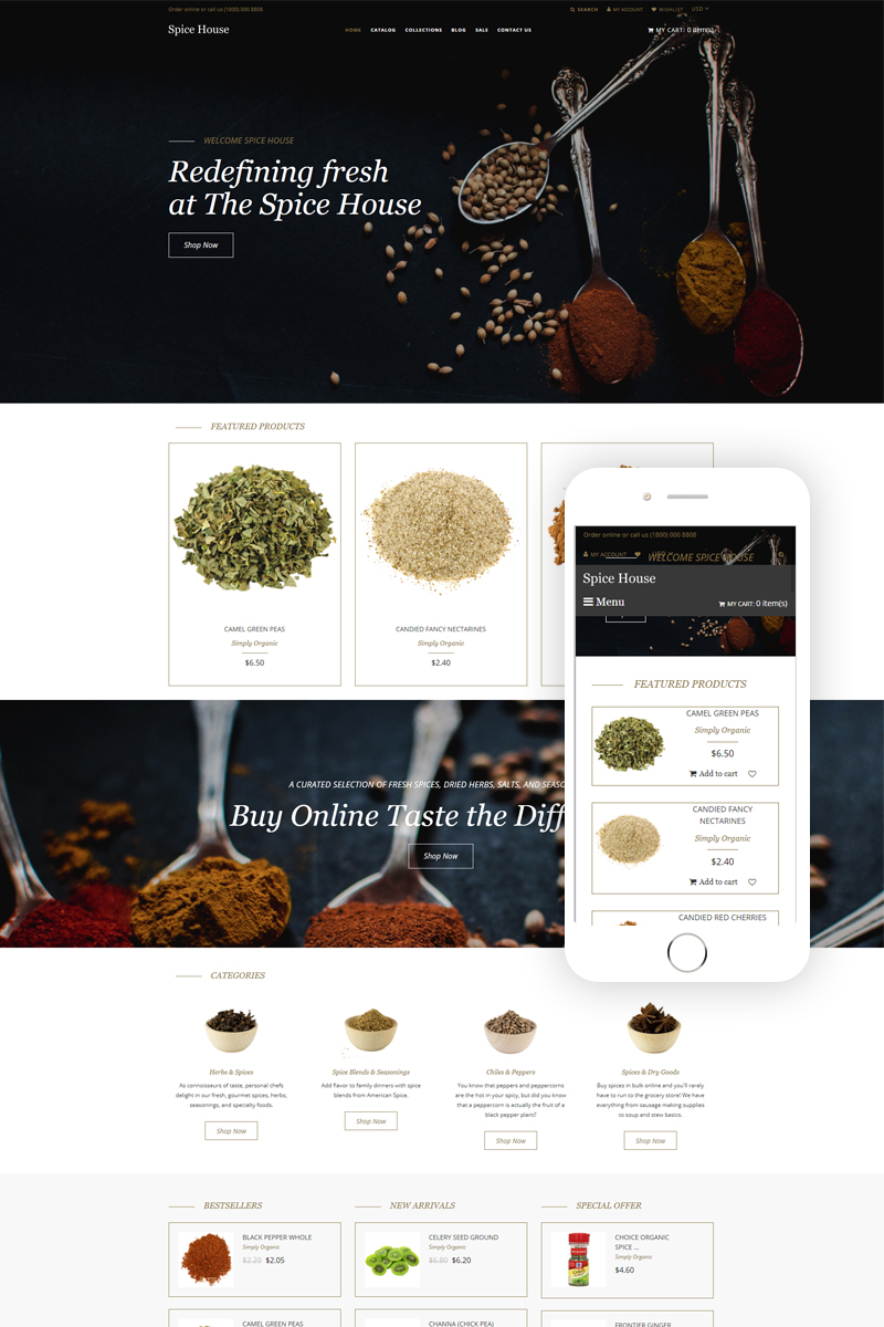 """Template Shopify Responsive #80431 """"Spice House - Spice Shop Modern"""""""