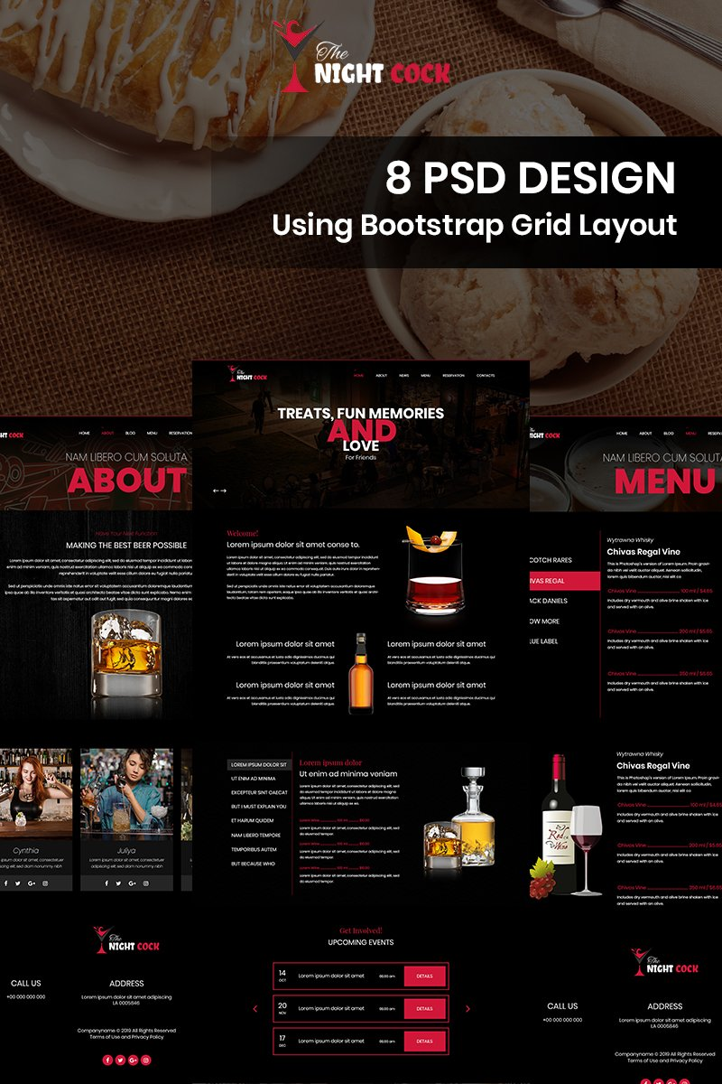 The Night Cock - Cocktail Bar PSD Template