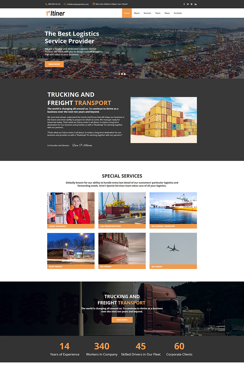 """""""Itiner - Transportation"""" modèle Moto CMS HTML  #80589"""