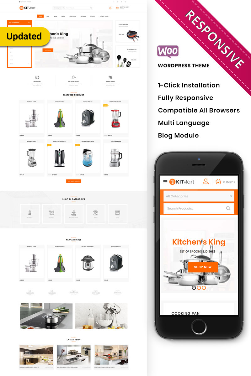 """Kitmart - The Kitchen Store Responsive"" thème WooCommerce adaptatif #80542"