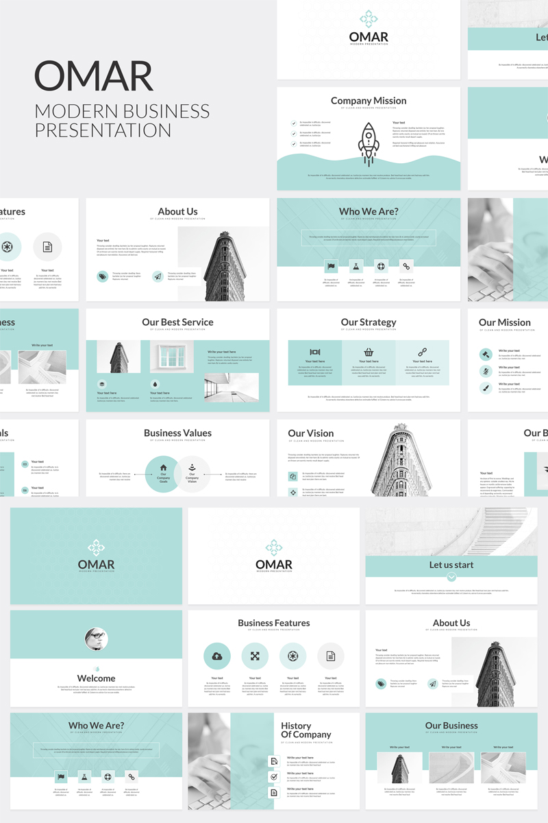 Omar Modern Business PowerPoint Template - screenshot