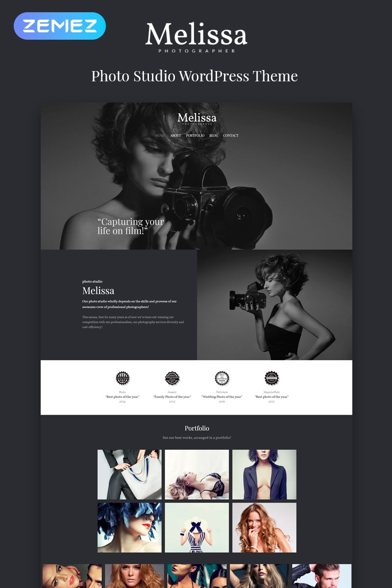 Reszponzív Melissa - Photography Multipurpose Creative Elementor WordPress sablon 80594 - képernyőkép