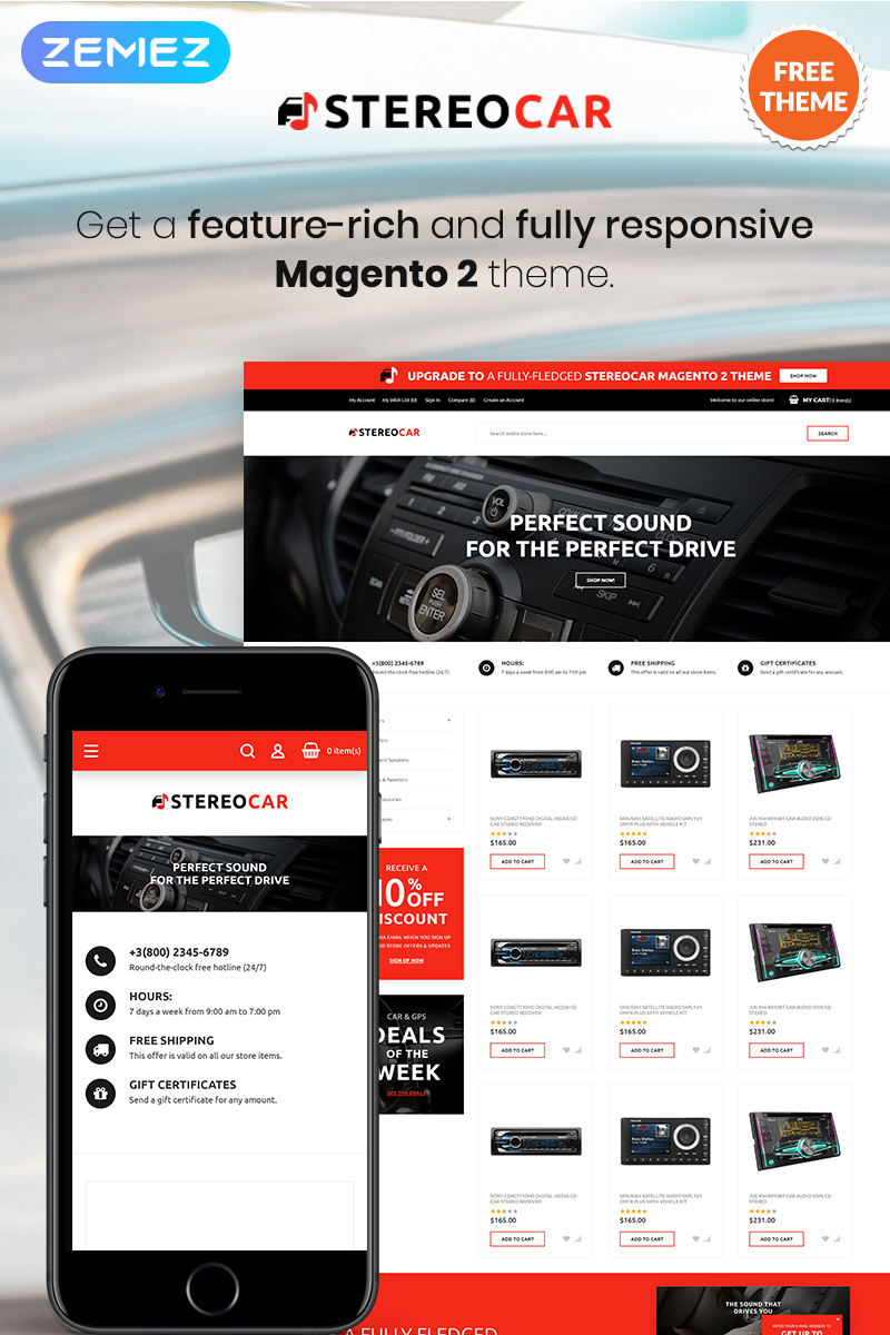 """StereoCar - FREE Audio eCommerce"" thème Magento  #80500"