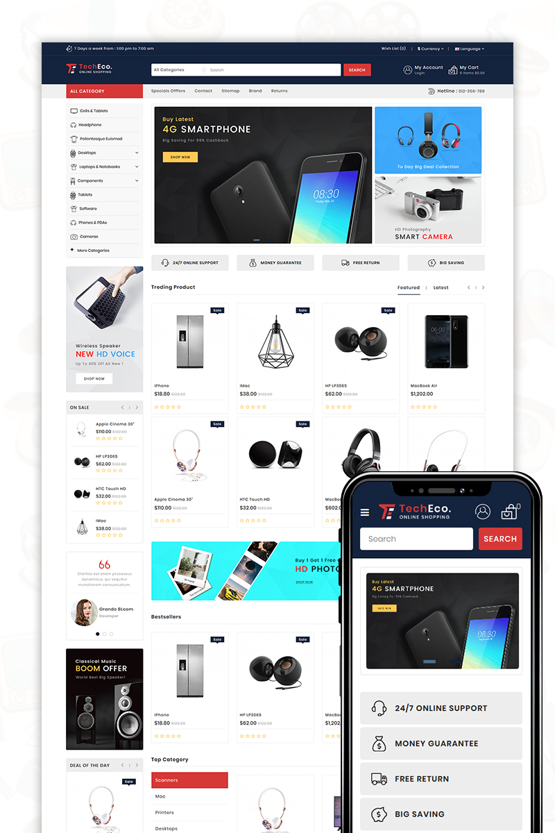 """Template OpenCart Responsive #80518 """"Techeco - The Shopping Mall"""""""