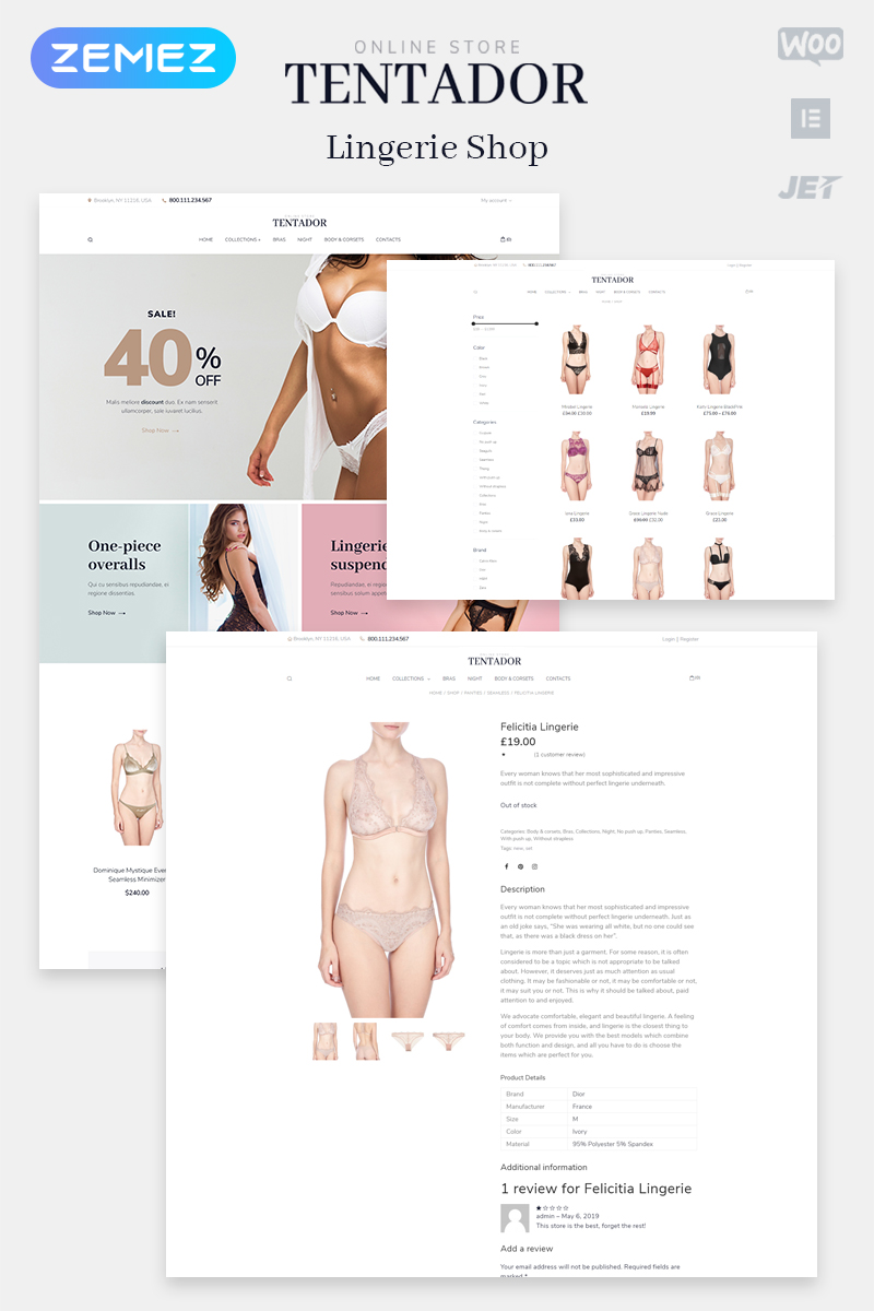 """Tentador - Lingerie ECommerce Modern Elementor"" Responsive WooCommerce Thema №80507"
