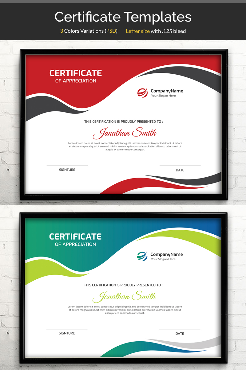"""""""Waves"""" Certificate Template №80537"""