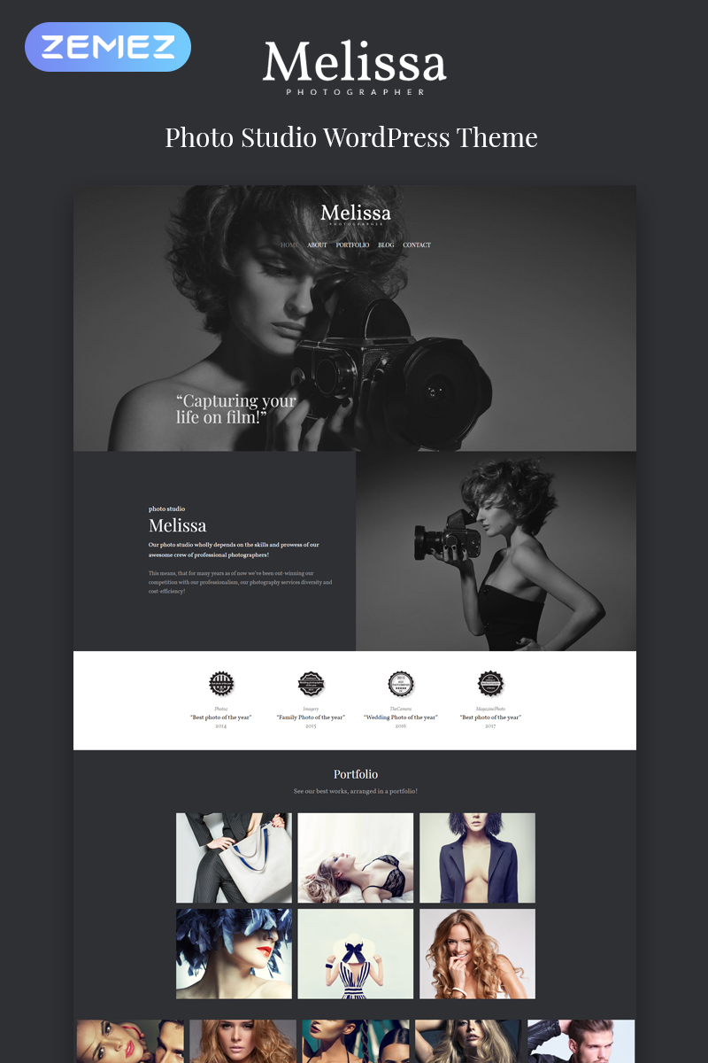 "WordPress Theme namens ""Melissa - Photography Multipurpose Creative Elementor"" #80594 - Screenshot"