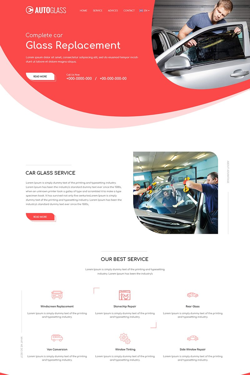 Autoglass - Glass Repair PSD Template