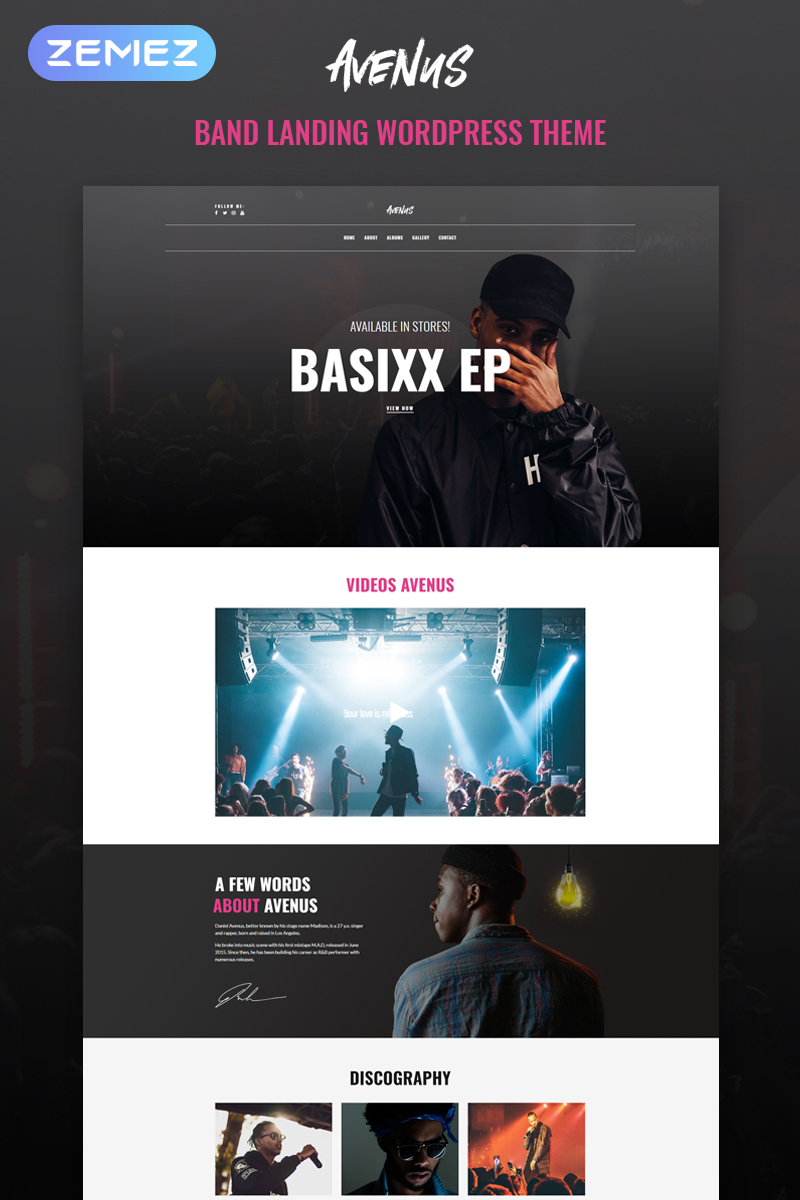 """Avenus - Music One Page Modern Elementor"" 响应式WordPress模板 #80661"
