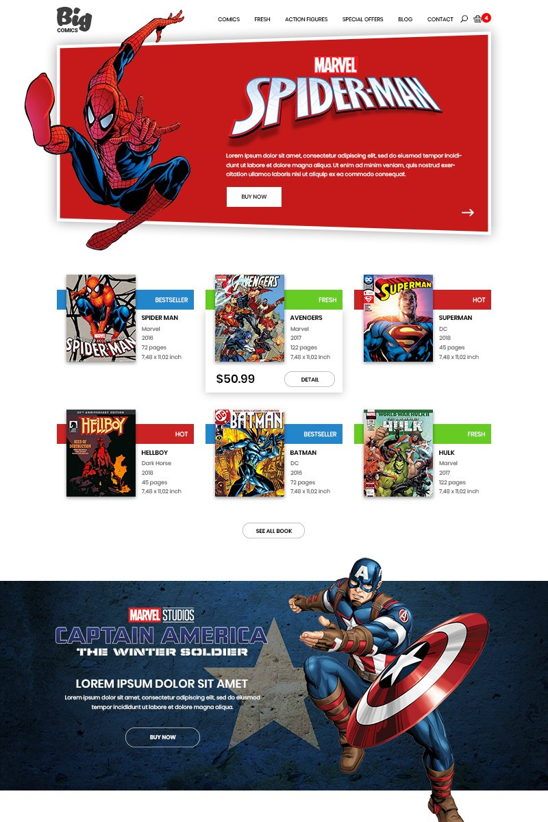 """""""Big Comics - Comics Store"""" modèle PSD  #80611"""