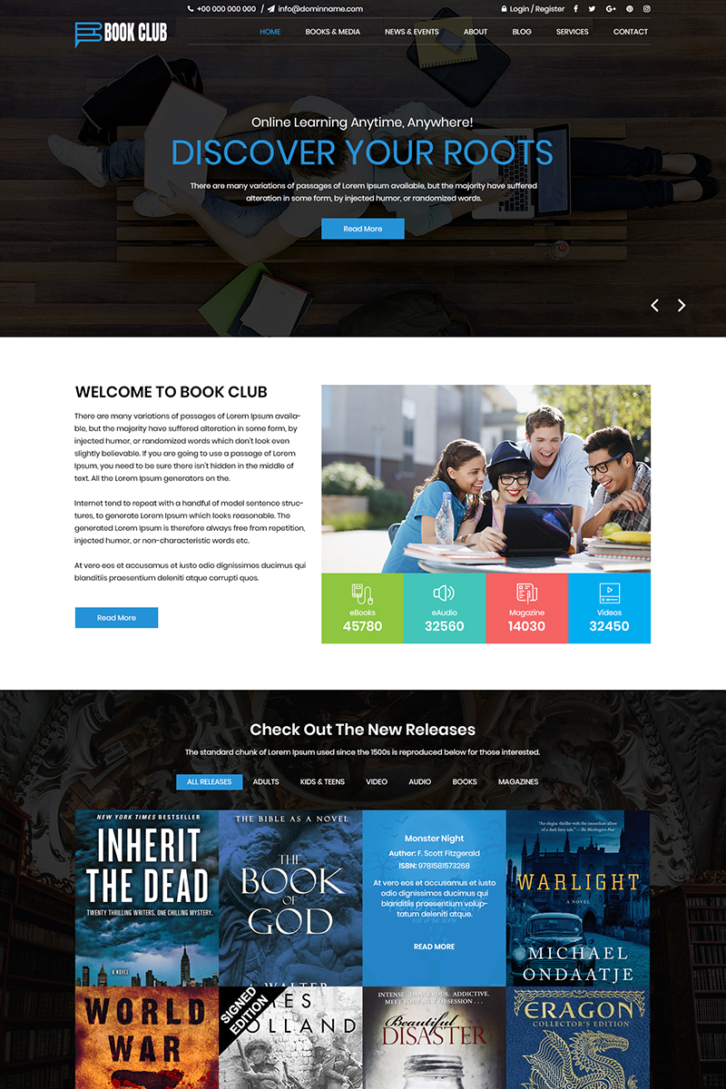 Book Club - Library PSD Template