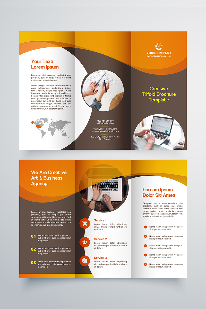 creative trifold brochure template  2 color styles