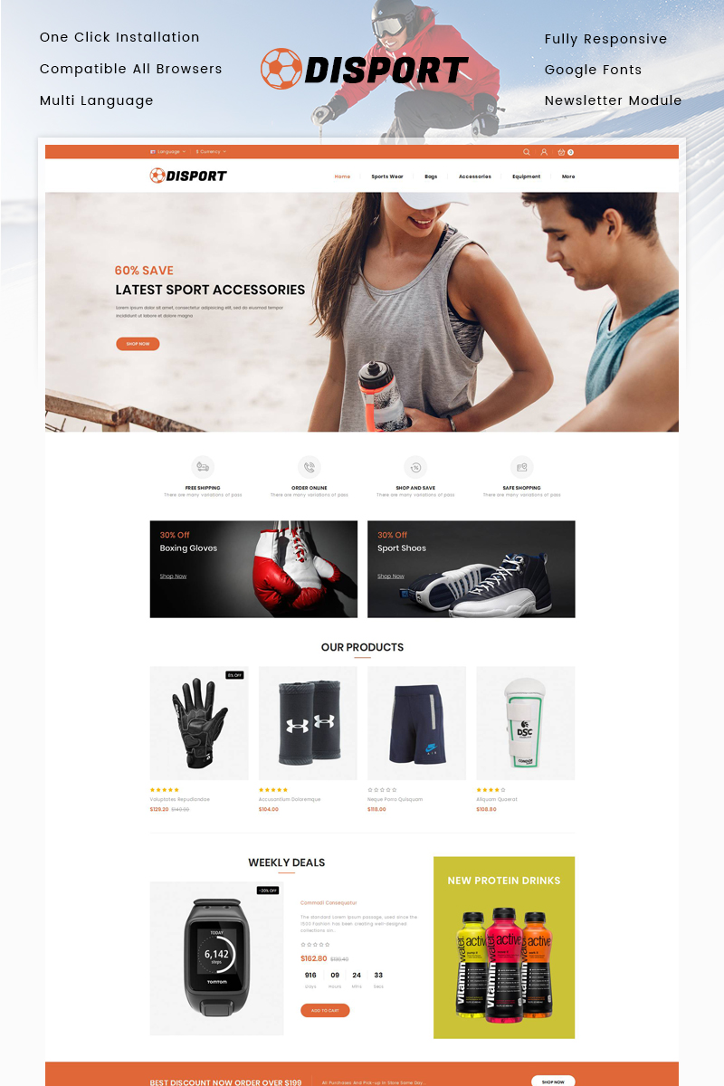 """Disport - Sports Accessories Store"" Responsive OpenCart Template №80656"