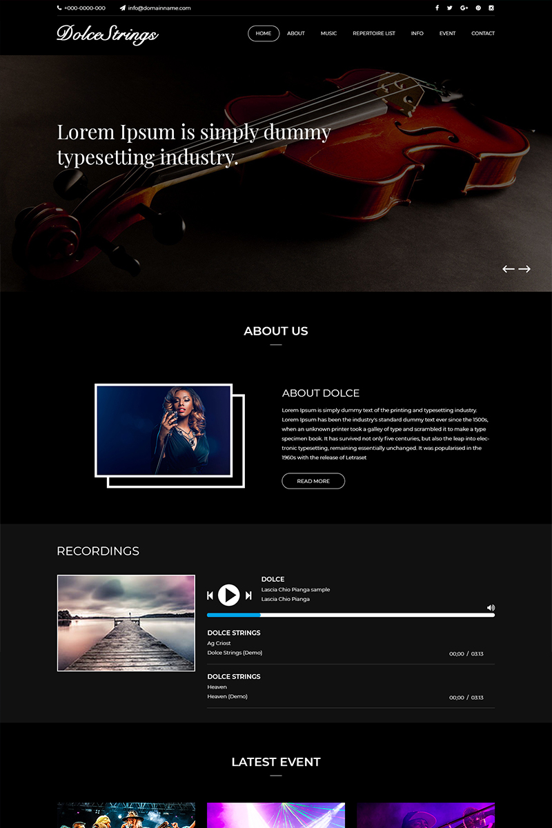 Dolcestrings - Music Band PSD Template