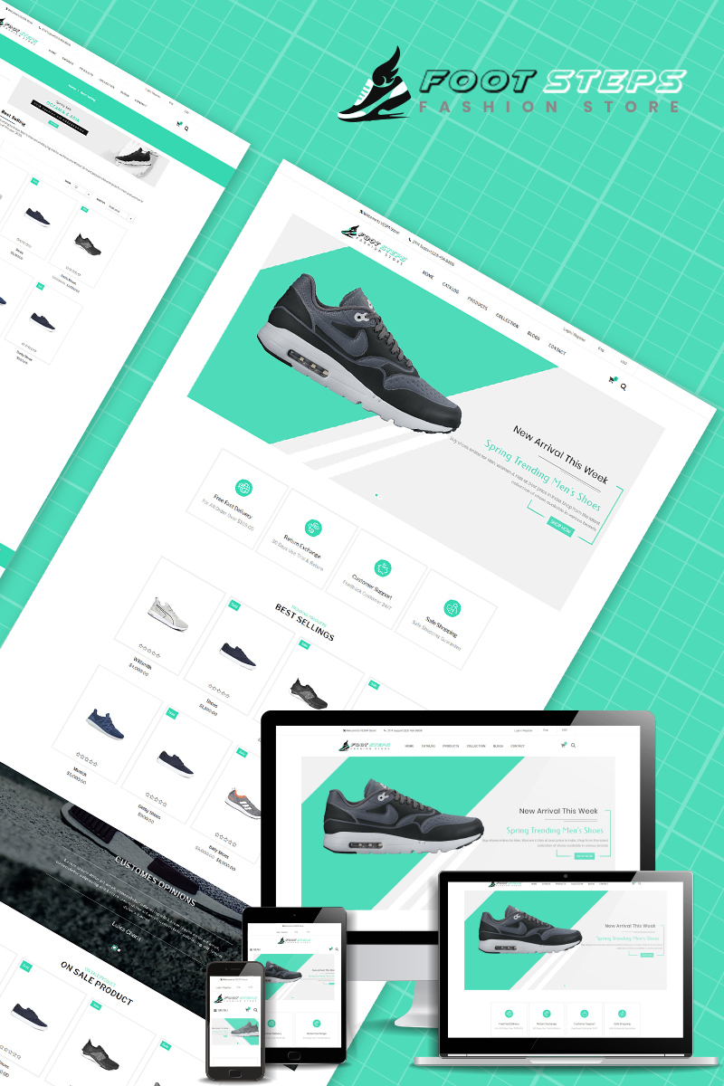 """Footsteps - Shoes Multipurpose"" Responsive Shopify Thema №80665"