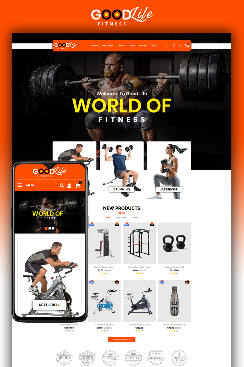"""GoodLife Fitness - Online Store"" Responsive OpenCart Template №80618"