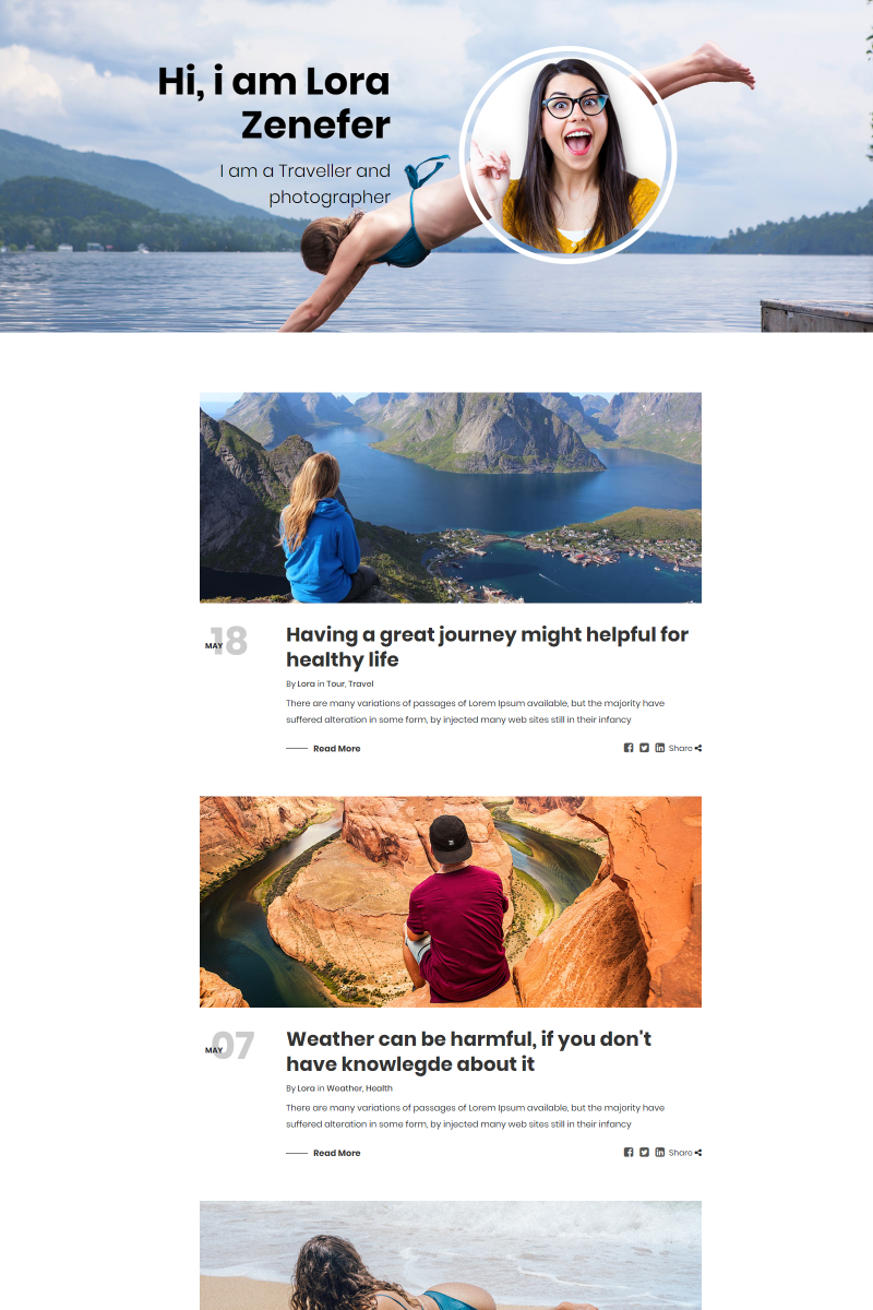 Lora Personal Blog Bootstrap Template Web №80617
