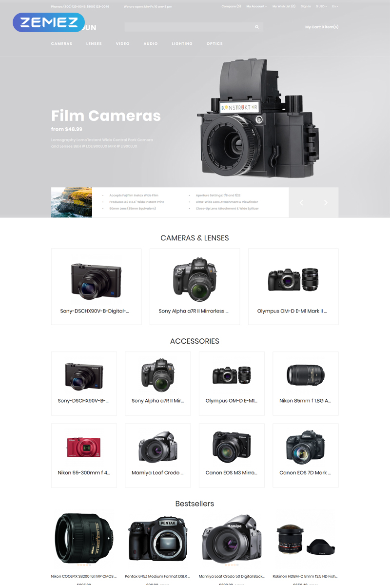 "Modello OpenCart Responsive #80621 ""Photo Gun - Electronics Store - D¡ommerce Modern"""