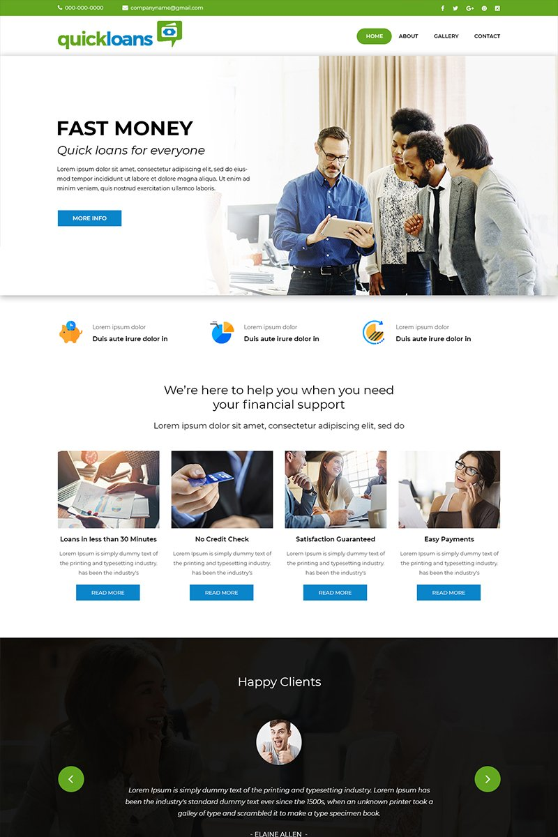 Quickloans - Loan Company PSD Template