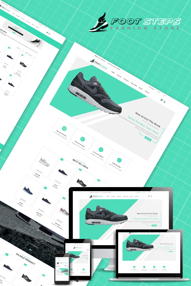 Responsivt Footsteps - Shoes Multipurpose Shopify-tema #80665