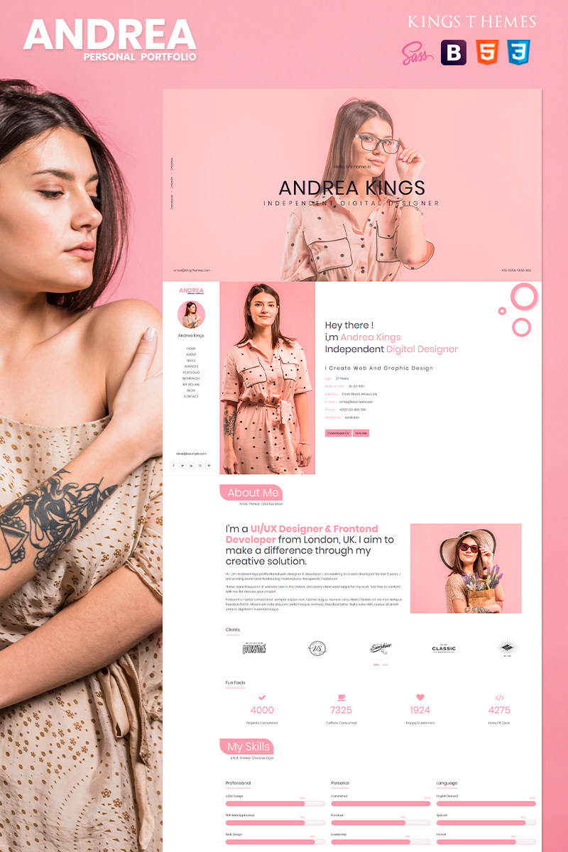 Responsywny szablon Landing Page Andrea - Personal Portfolio #80688