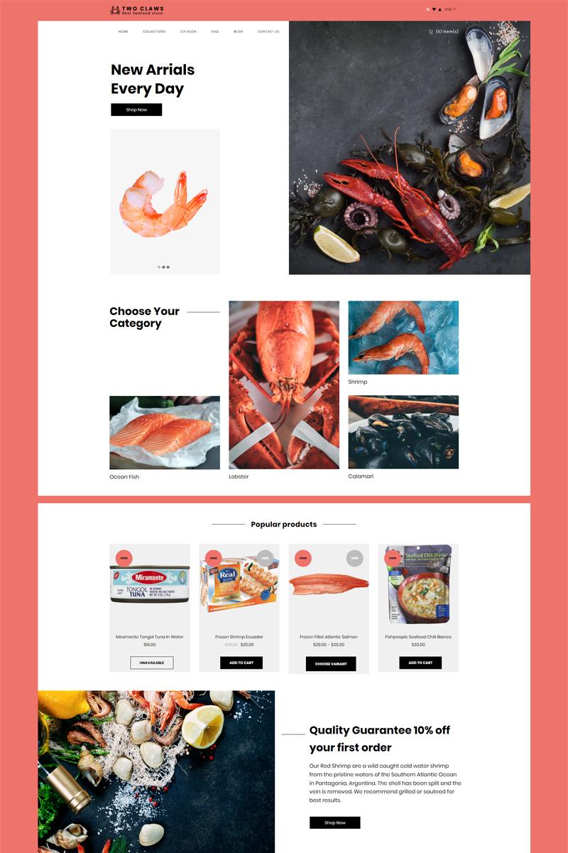 Reszponzív Two Claws - Food Store eCommerce Modern Shopify sablon 80623 - képernyőkép