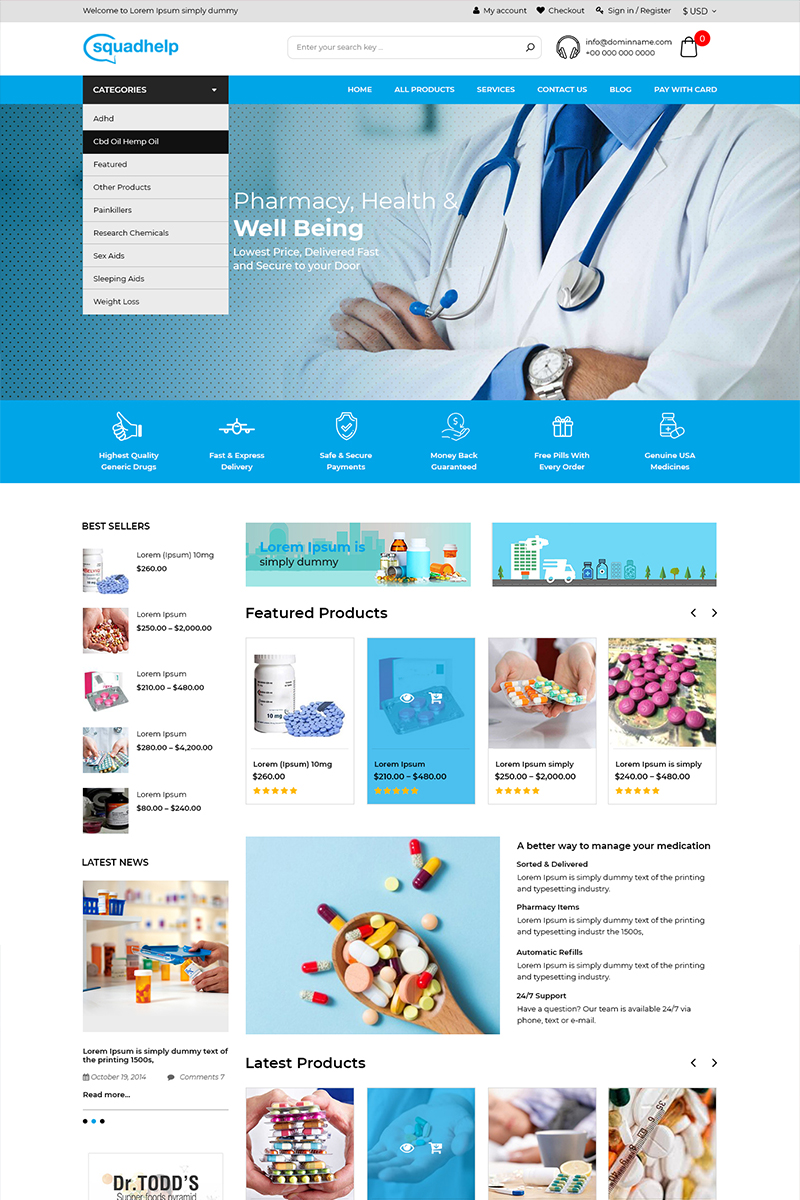 """Squadhelp - Medicine Store"" - PSD шаблон №80655"