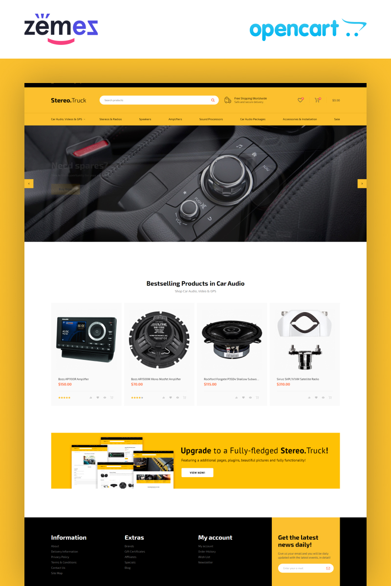 """Stereo Truck - Car Audio E-commerce Clean"" 响应式OpenCart模板 #80668"