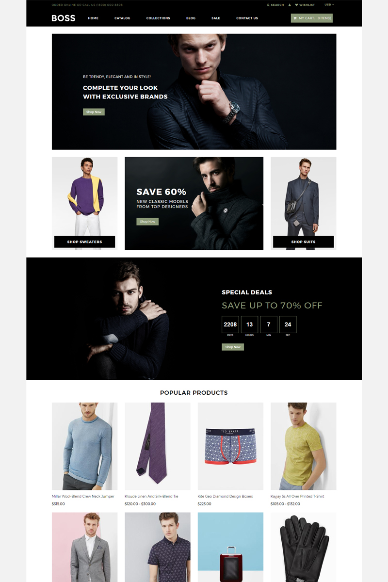 "Tema Shopify ""BOSS - Apparel eCommerce Modern"" #80622"